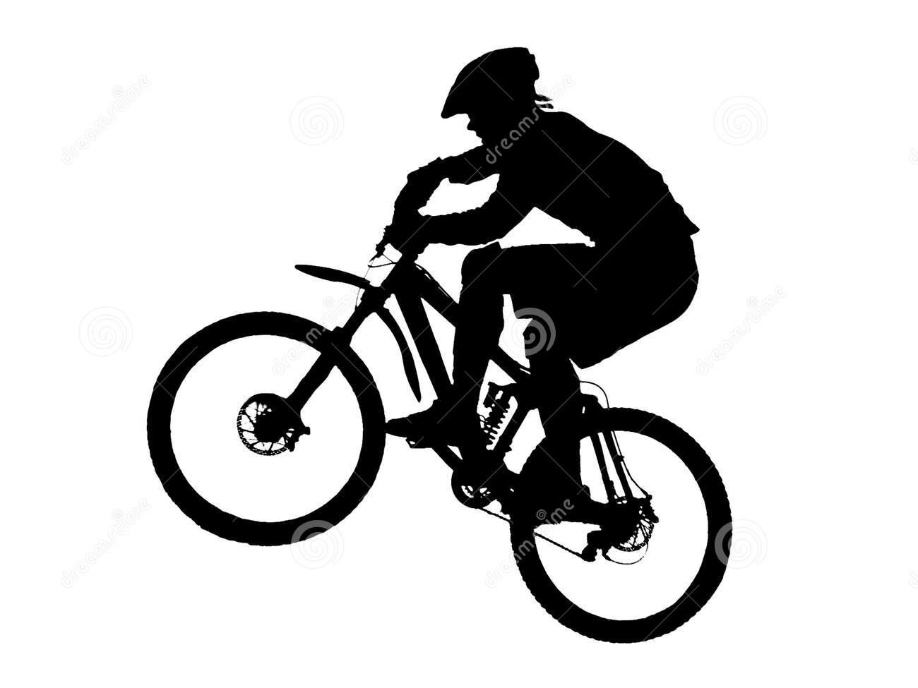 Silhouette . Biking clipart mountain bike