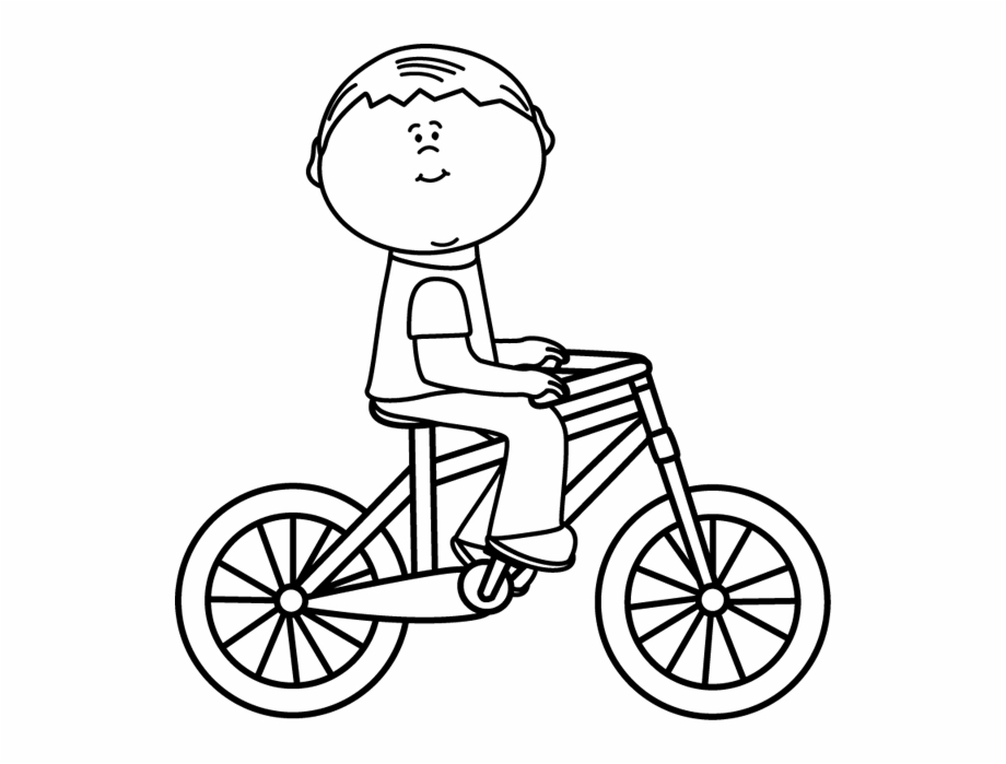 Biking clipart outline. Black and white boy