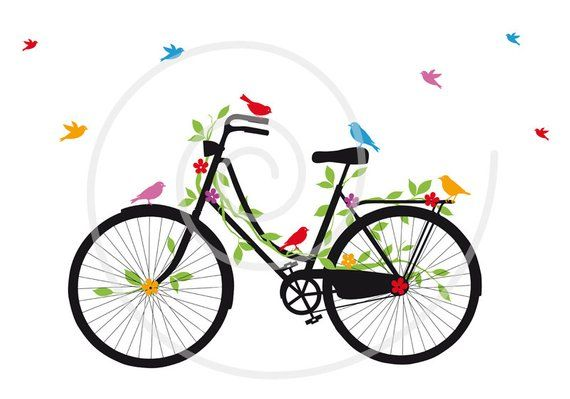 Vintage bicycle with birds. Biking clipart printable