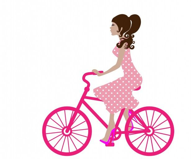 Biking clipart public domain. Girl on bike image