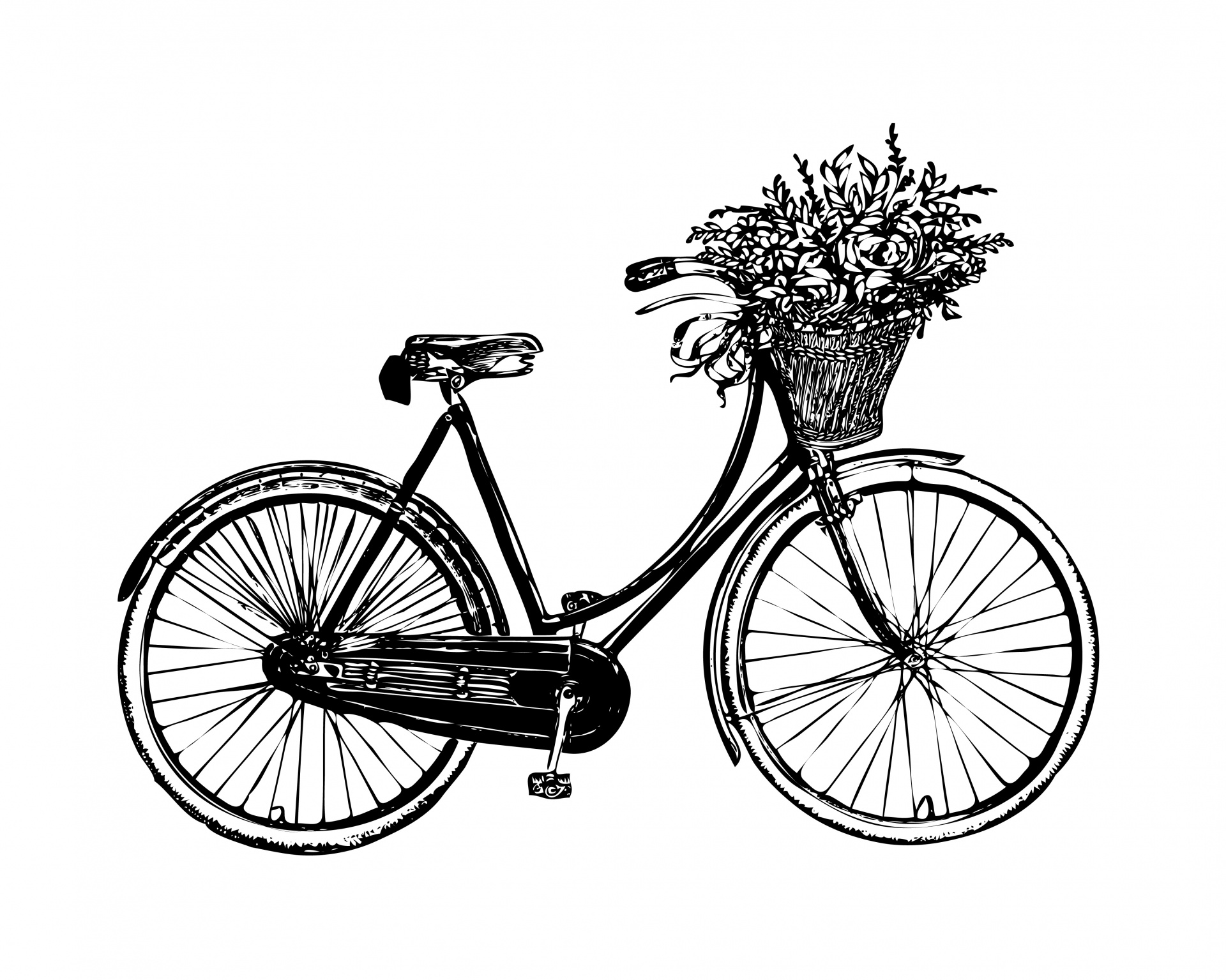 Biking clipart public domain. Bicycle flowers vintage free