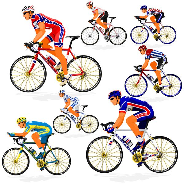 Biking clipart road bike. Cyclist with vector illustration