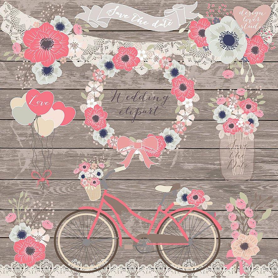 Biking clipart shabby chic. Vector bicycle wedding illustrations