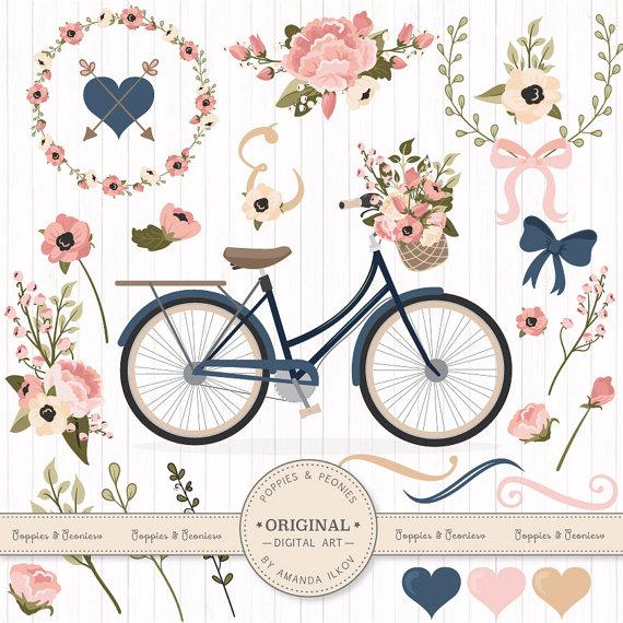 Biking clipart shabby chic. Premium wedding vectors navy