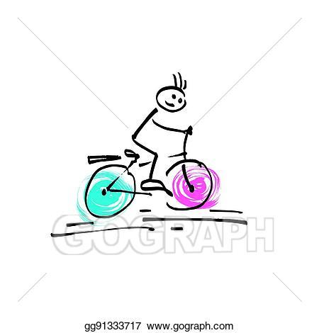 Vector art sketch doodle. Biking clipart stick figure
