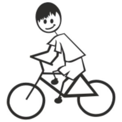 Biking clipart stick figure. Sport family vinyl decal