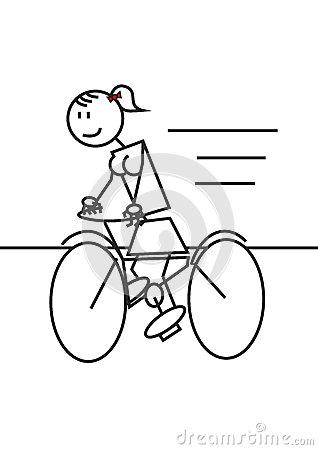 Girl drawing at getdrawings. Biking clipart stick figure