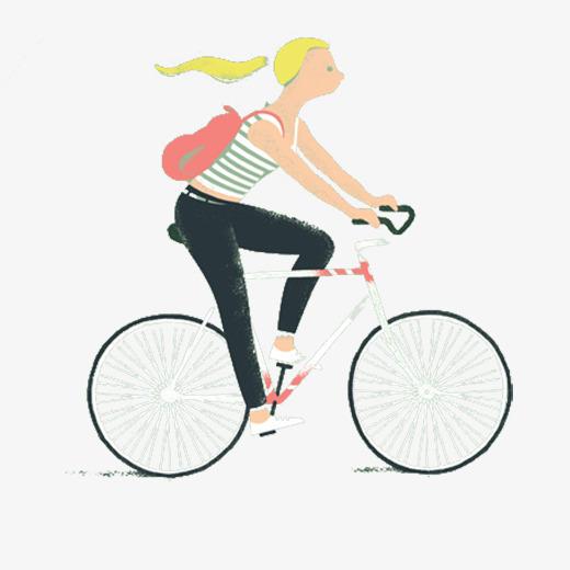 Girl riding a bike. Biking clipart transportation