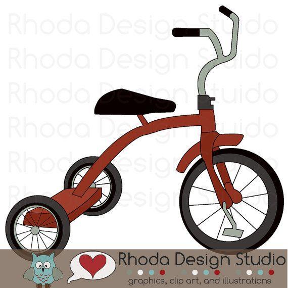Retro bike red digital. Biking clipart tricycle