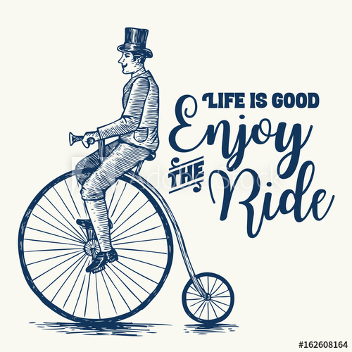 Sketch of man riding. Bicycle clipart victorian