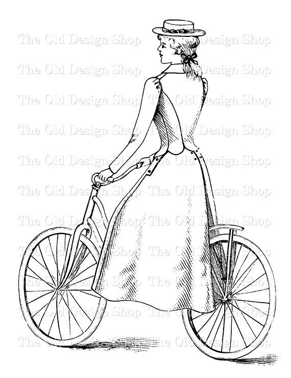 Bicycle clipart victorian. Lady riding clip art