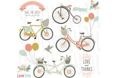 Bike clip art pack. Biking clipart wedding