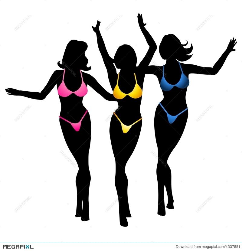 Bikini clipart 3 woman. Sexy girls silhouette illustration