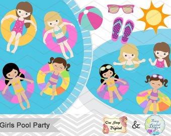 Digital beach vacation clip. Bikini clipart 3 woman