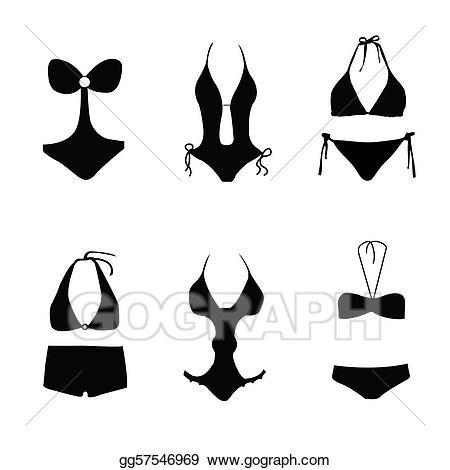 bikini clipart black and white