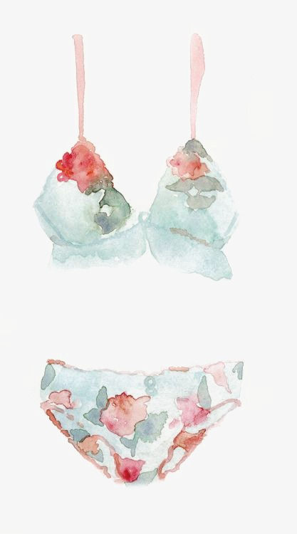 Hand painted watercolor png. Bikini clipart blue bikini