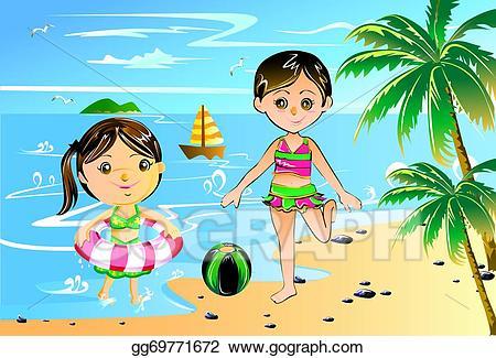 Bikini clipart child. Drawing little girl with