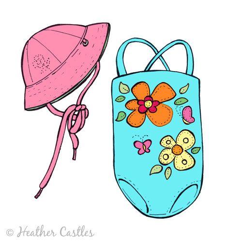 Children s illustration swimsuit. Bikini clipart child