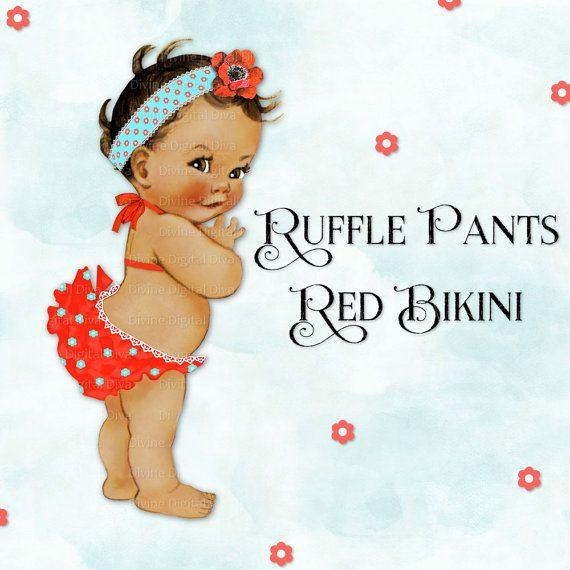 Ruffle pants lace trimmed. Bikini clipart child
