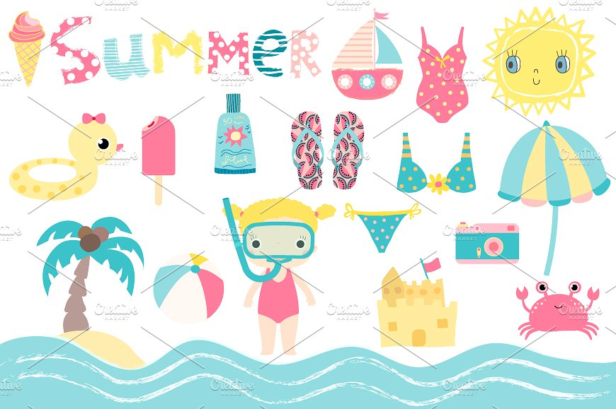 Summer beach holiday set. Bikini clipart child