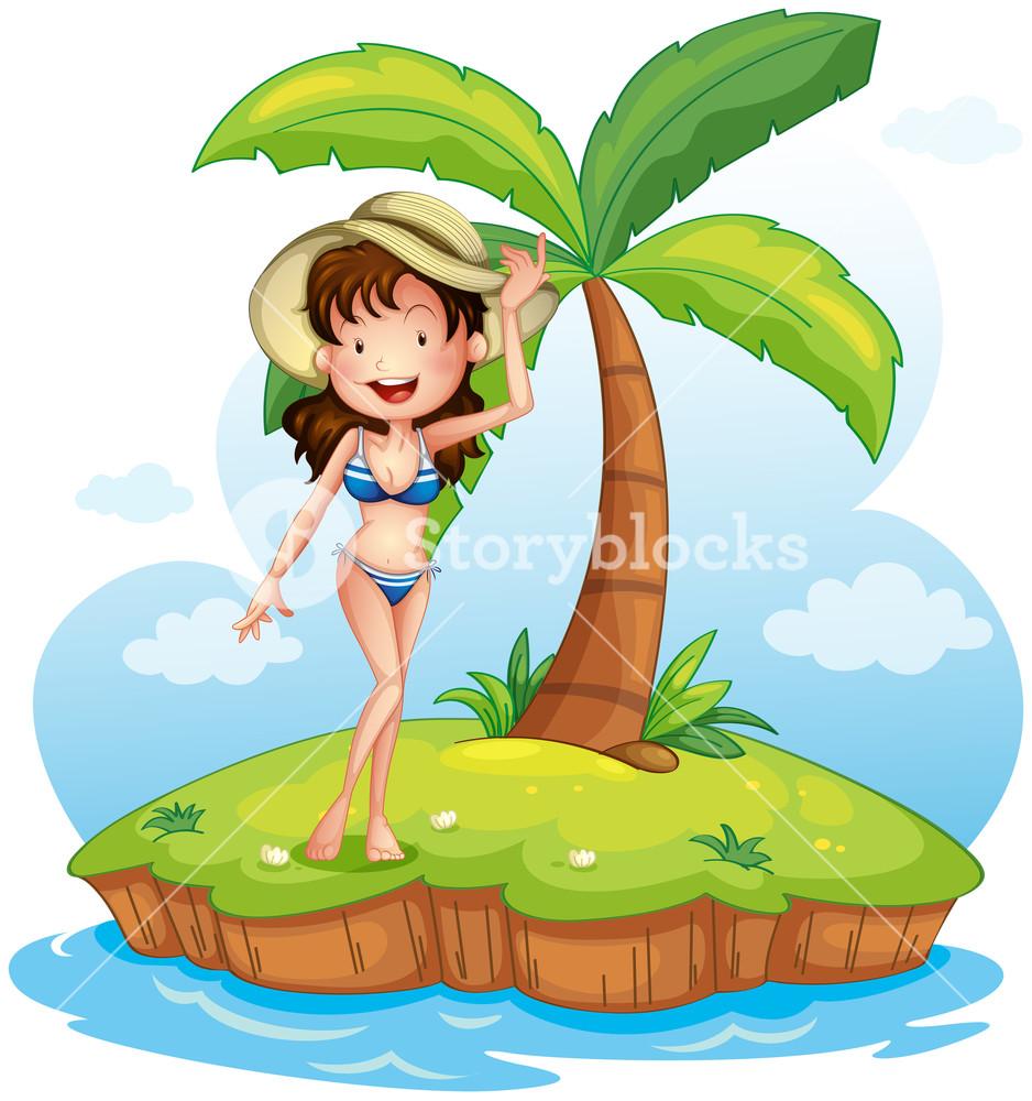 Bikini clipart coconut. Illustration of a girl