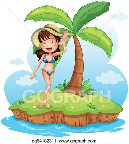Eps vector a girl. Bikini clipart coconut