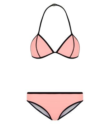Bikini clipart pink swimsuit. Teens colour block set