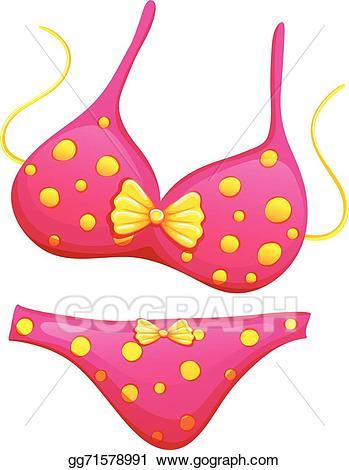 Bikini clipart pink swimsuit. Eps illustration a vector
