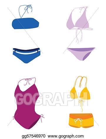 Bikini clipart swimming dress. Vector illustration bathing suit