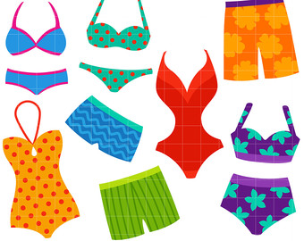 Group bikini swimwear pencil. Swimsuit clipart