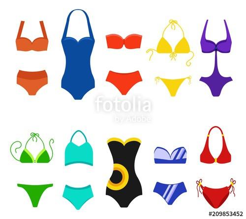 Bikini clipart white background. Set of women swimsuit