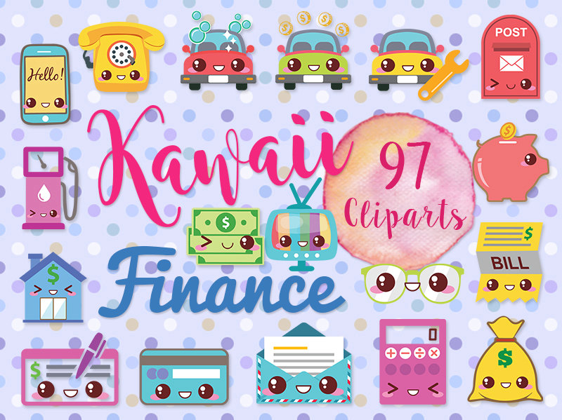 cute finance money. Calculator clipart kawaii