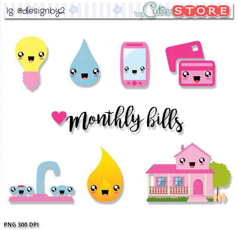Bills clipart bill due. Monthly kawaii cute clip