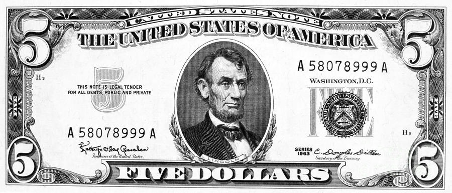 Bills clipart five dollar. Bill black and white