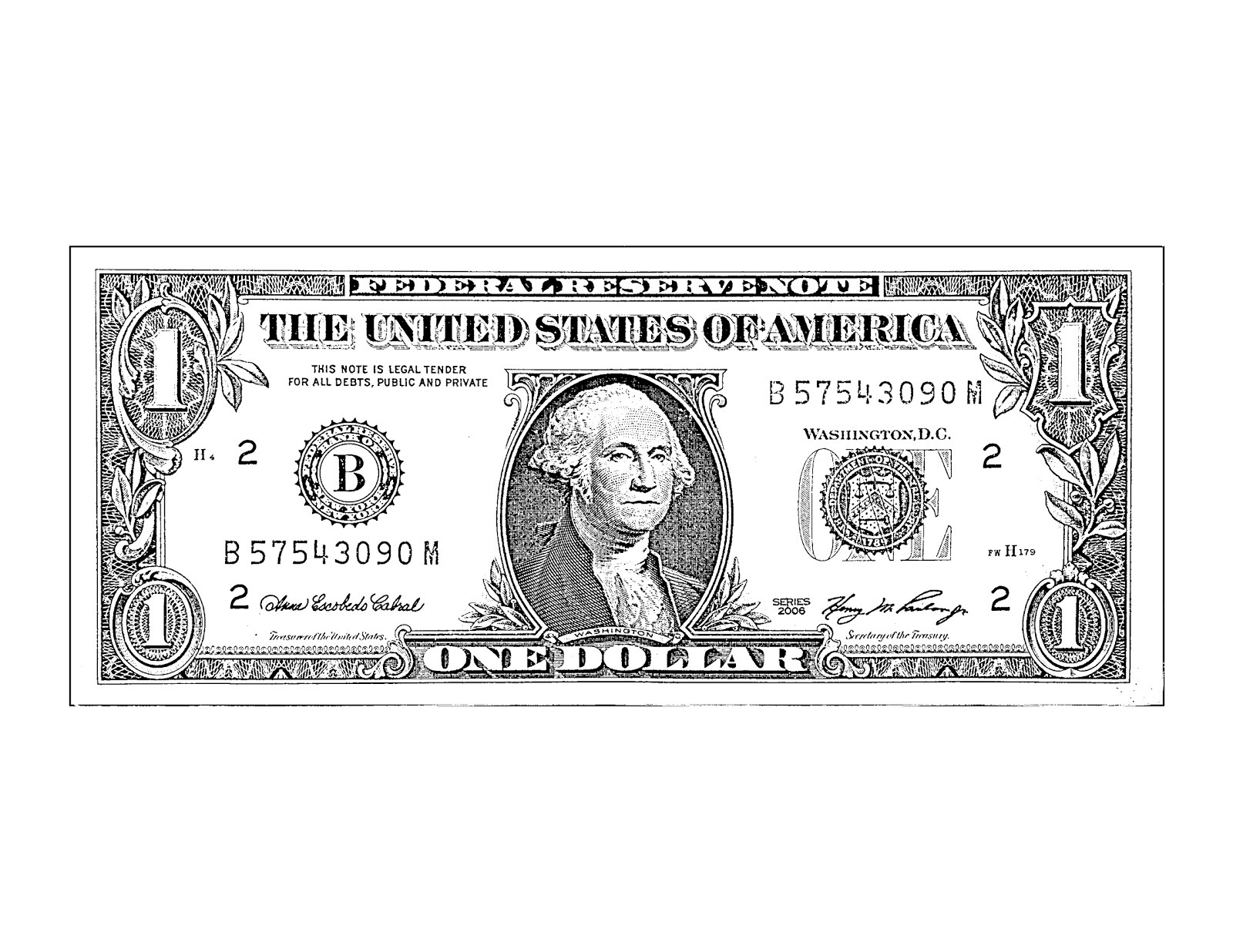 One dollar bill letters. Bills clipart black and white