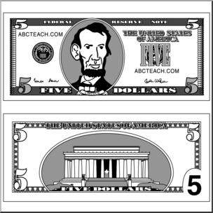 Clip art bill grayscale. Bills clipart five dollar