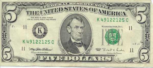 . Bills clipart five dollar