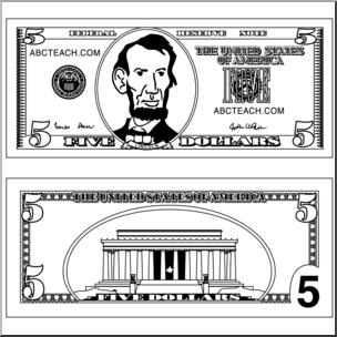 Bills clipart five dollar. Clip art bill outline