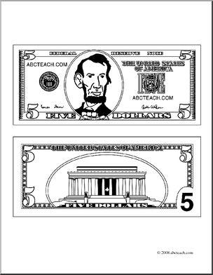 Clip art bill outline. Bills clipart five dollar