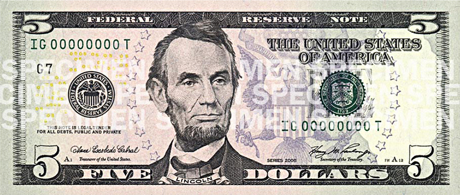 Five us money currency. Cash clipart dollar bill