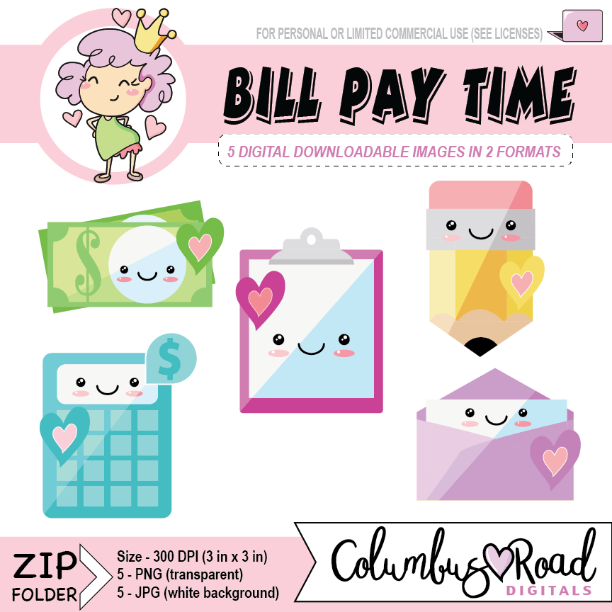 Bill pay icons digital. Calculator clipart kawaii