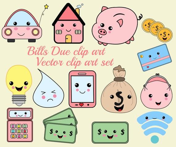 Bills clipart bill due. Kawaii icons clip art