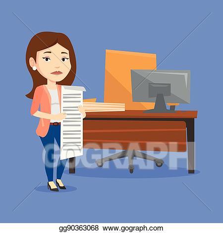 Vector business woman holding. Bill clipart long