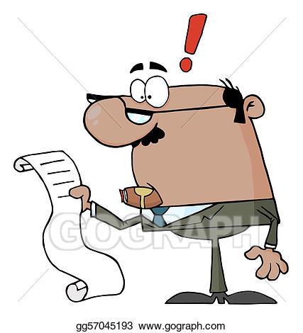Bill clipart long. Eps vector businessman reviewing