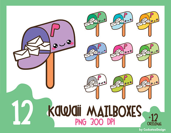 Mailbox clipart printable. Kawaii clip art happy