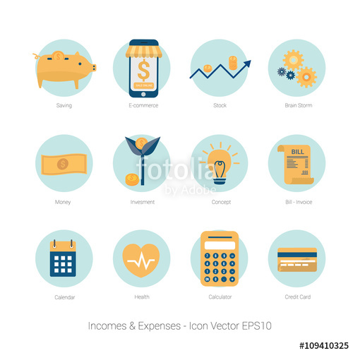 Icon income and expenses. Bills clipart monthly expense