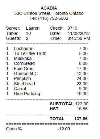 Acadia the bill foodie. Bills clipart restaurant