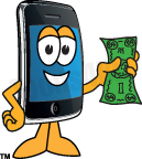 Smart phone mascot holding. Telephone clipart telephone bill