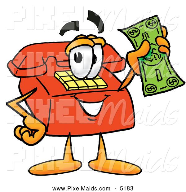 Bills clipart telephone bill. Of a red cartoon