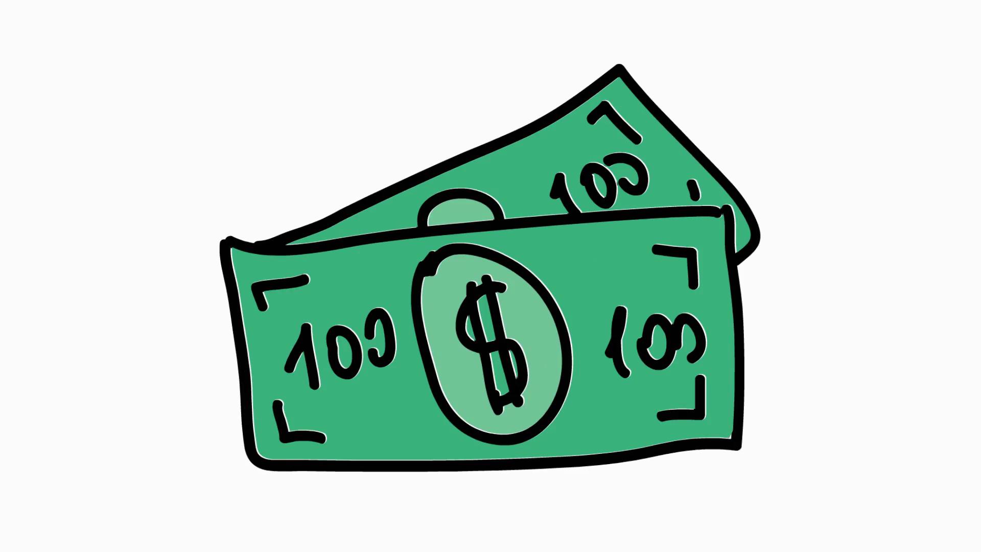 Dollar bill icon cartoon. Bills clipart transparent